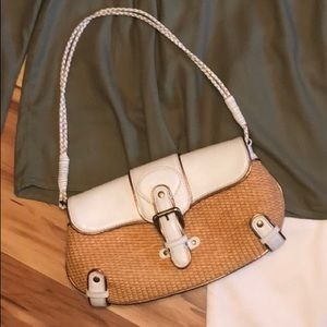 Adorable BCBGirls White and Rattan Purse